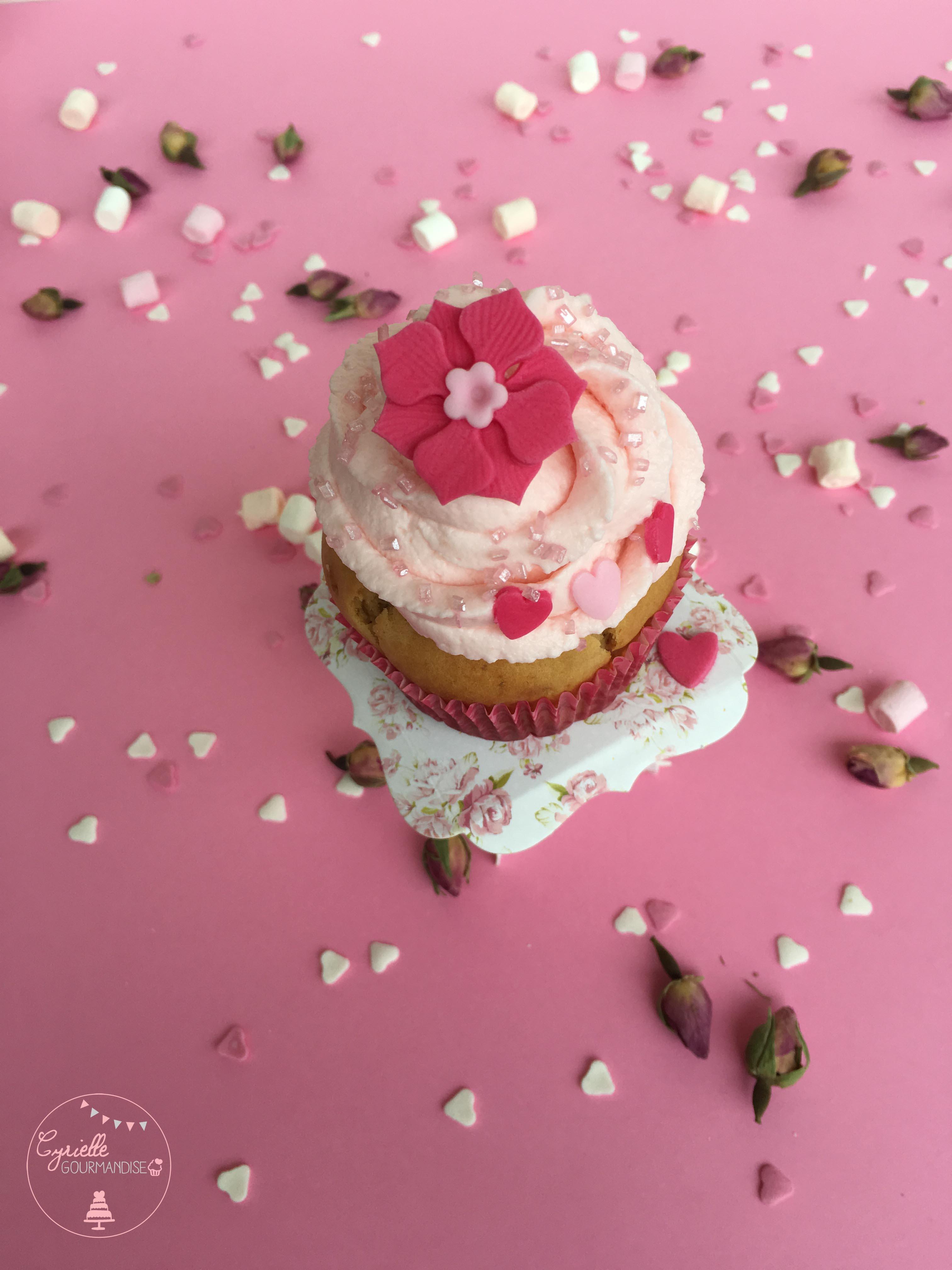 Cupcake rhubarbe rose