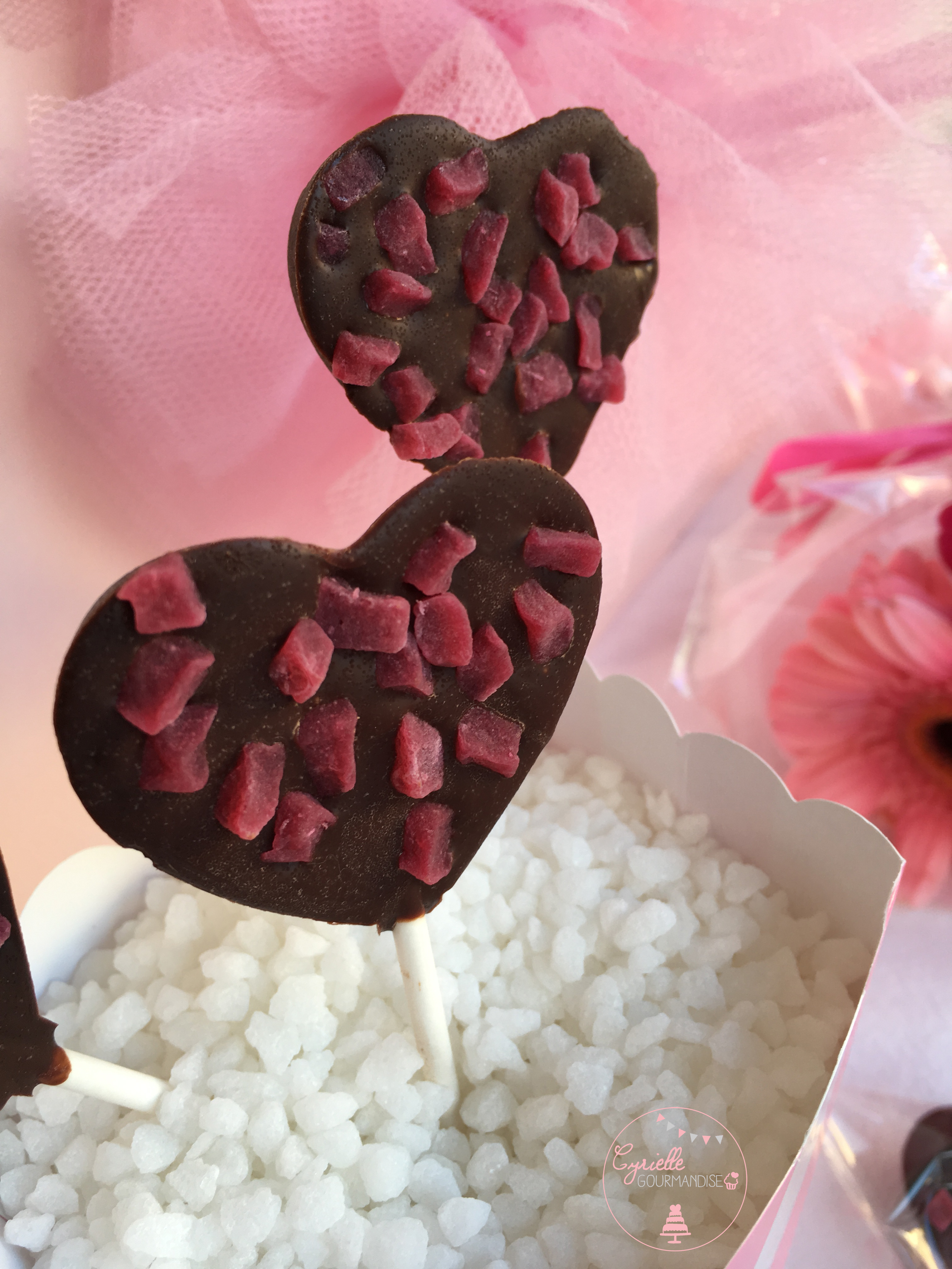 Sucettes chocolat framboise 4