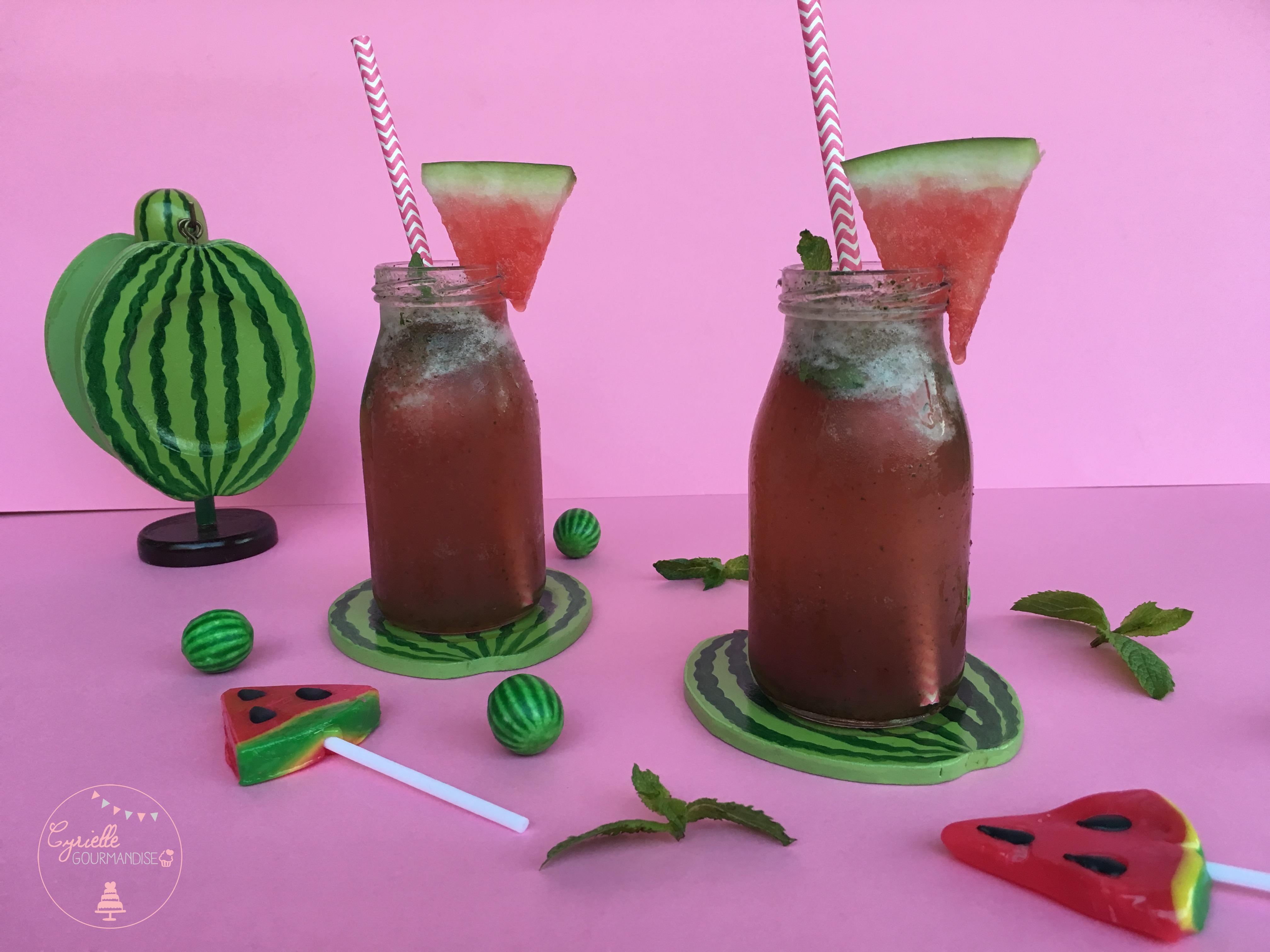 Cocktail pastèque concombre menthe