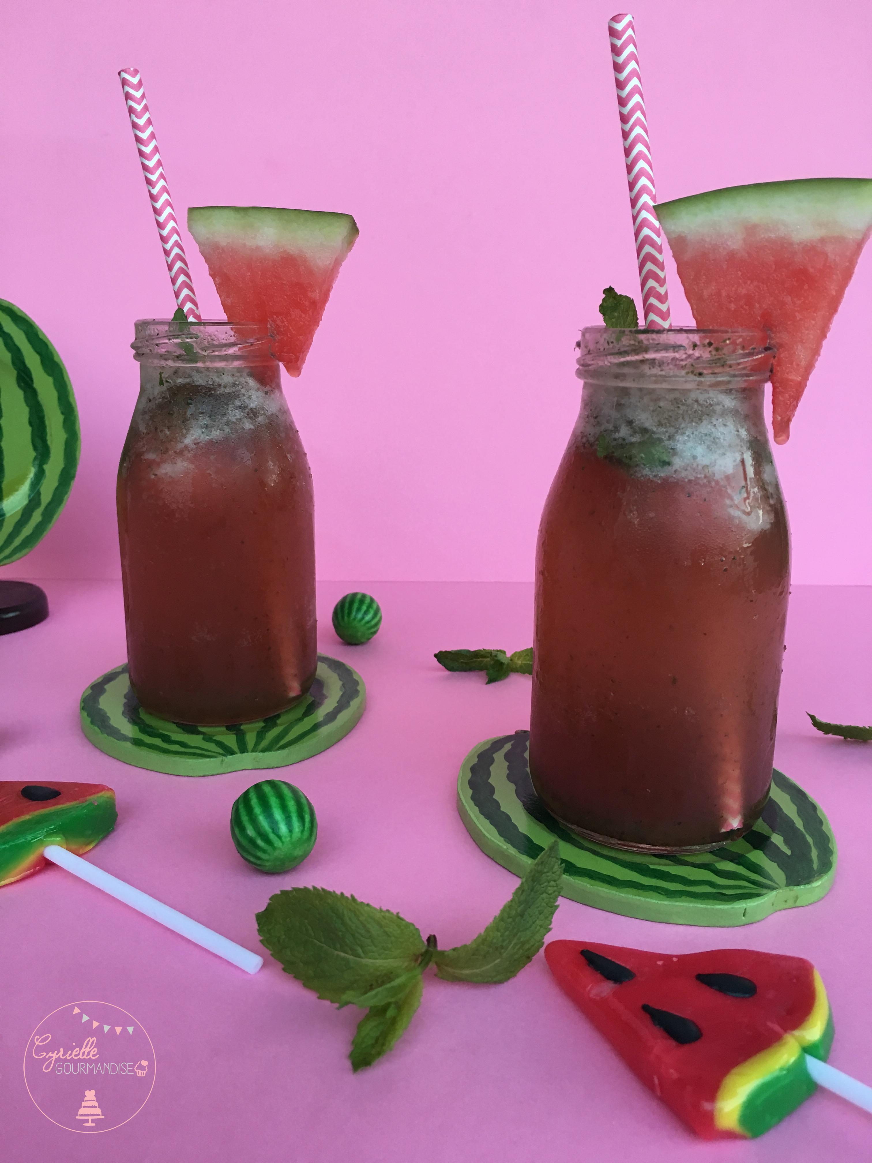 Cocktail pastèque concombre menthe 2
