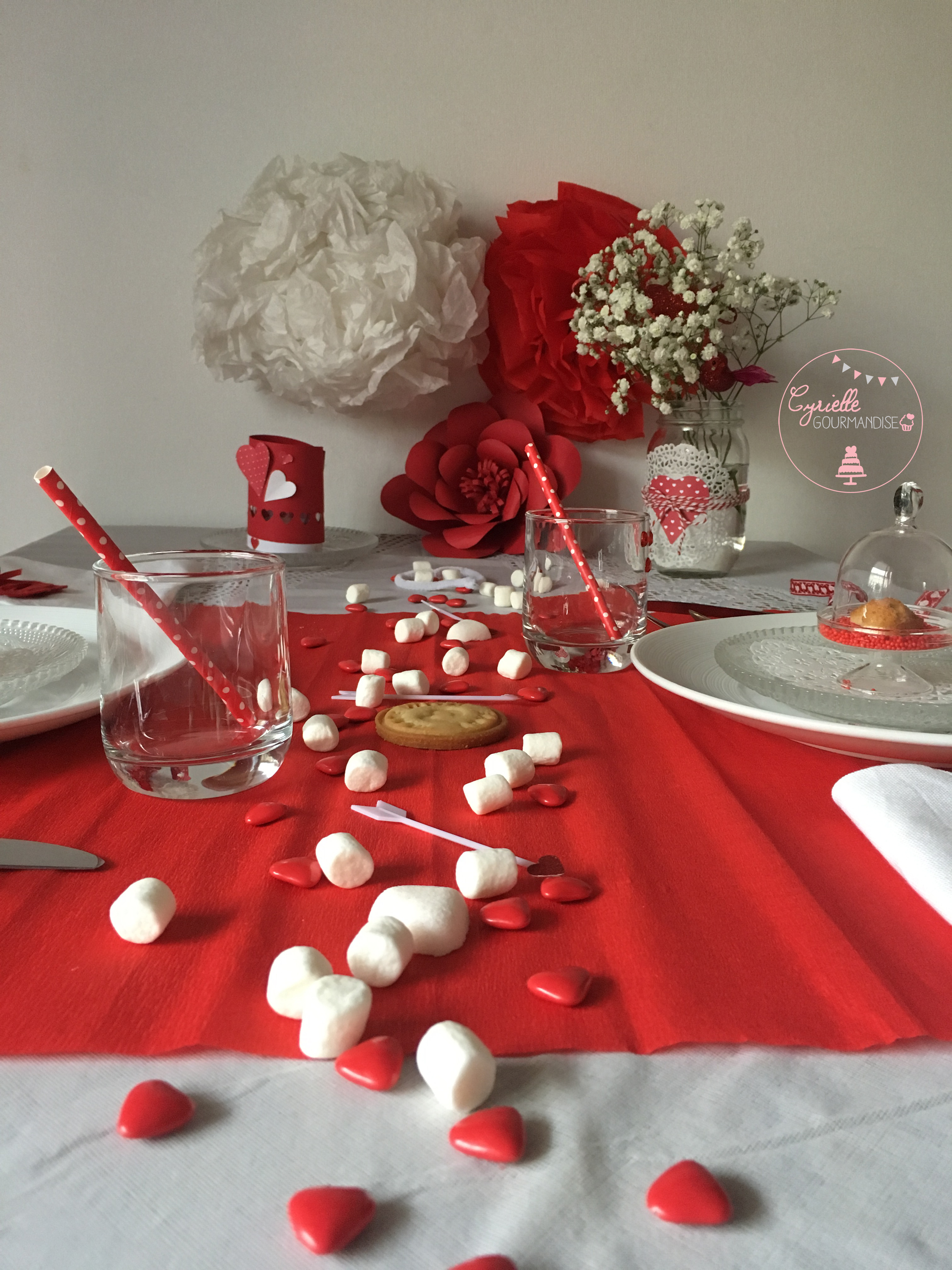 Table rouge passion saint valentin cyrielle gourmandise for Decoration porte st valentin