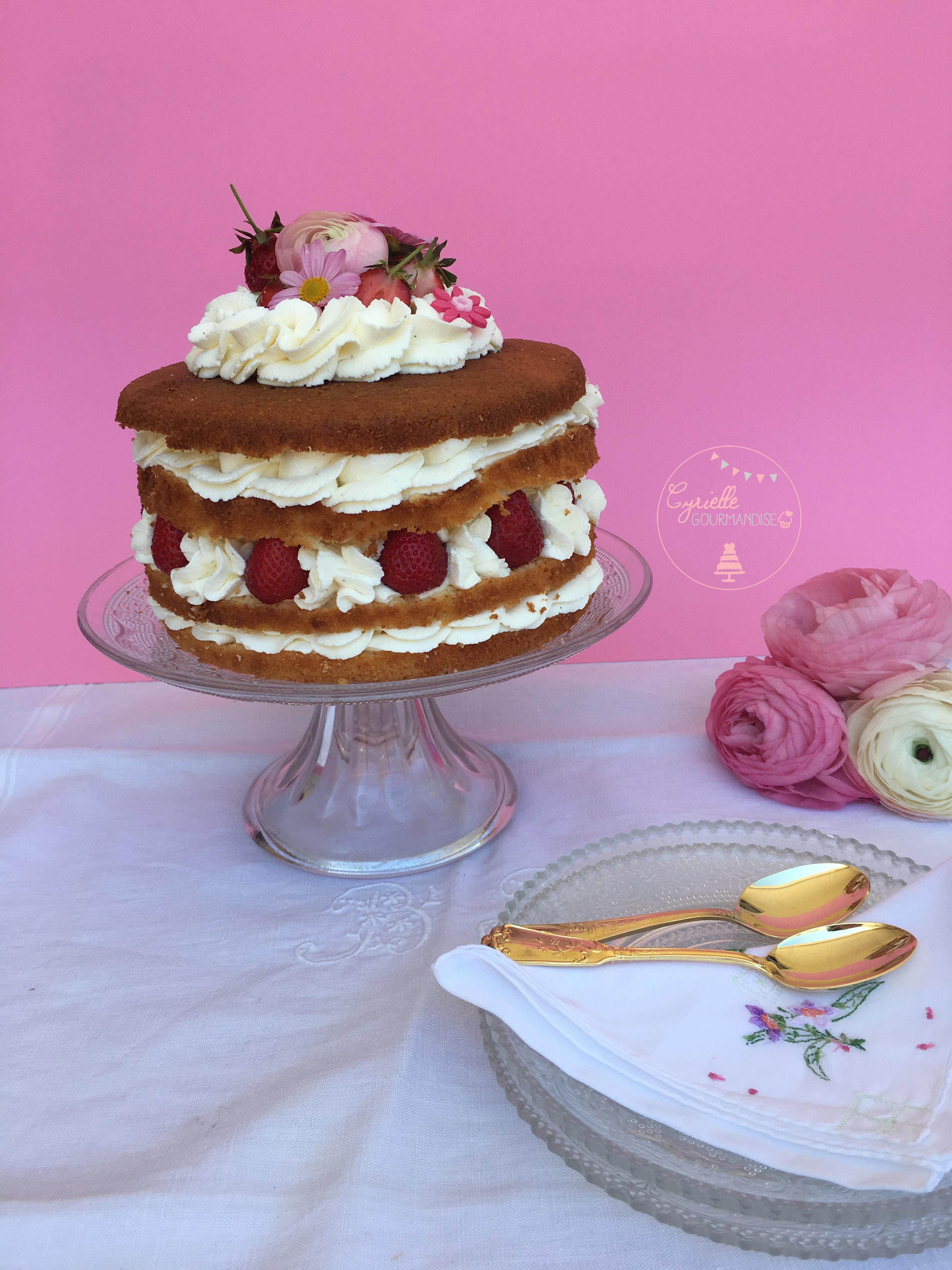 Naked Chiffon Cake Fraise Rhubarbe Vanille