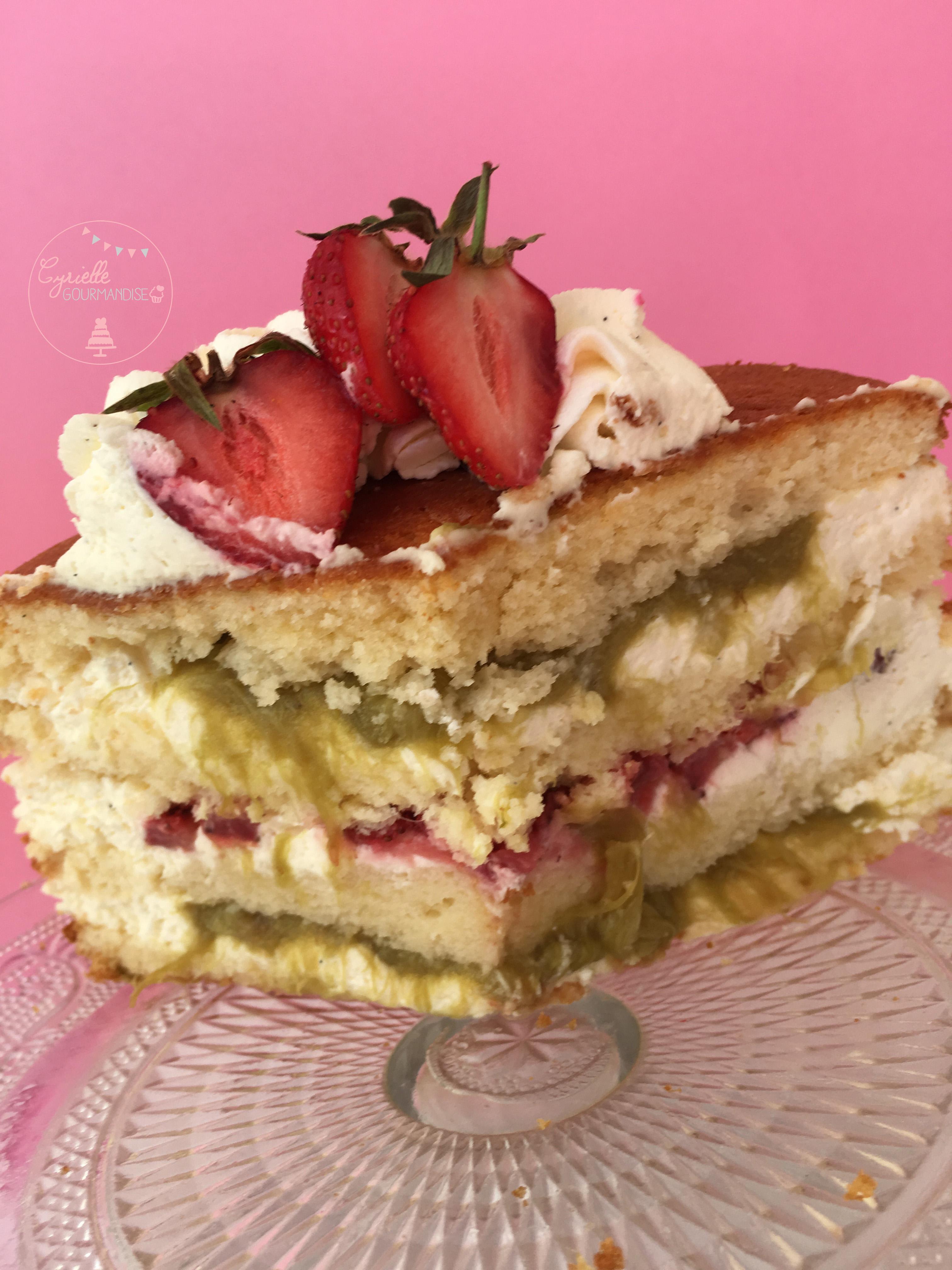Naked Chiffon Cake Fraise Rhubarbe Vanille 7