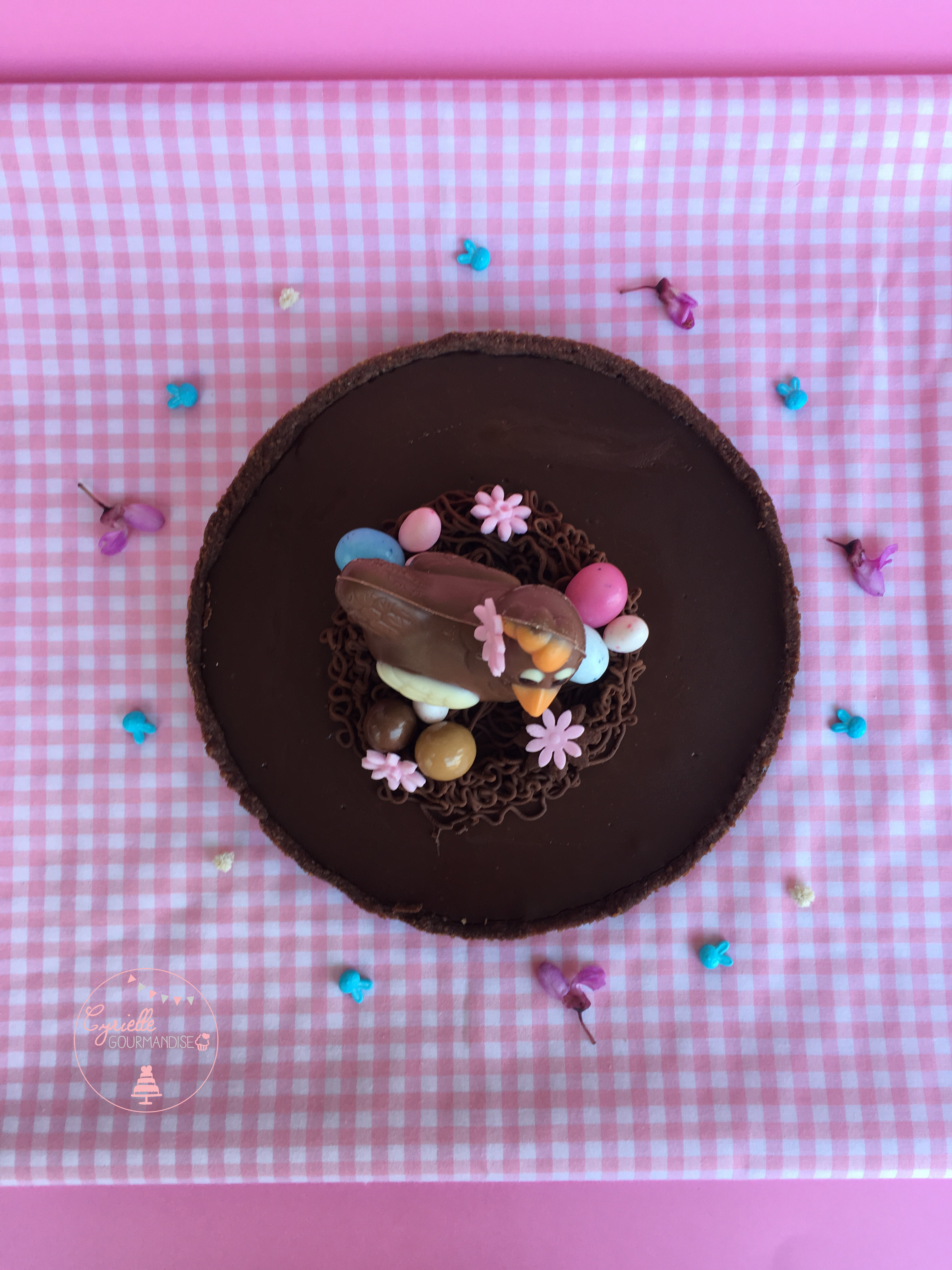 Tarte choco caramel Pâques