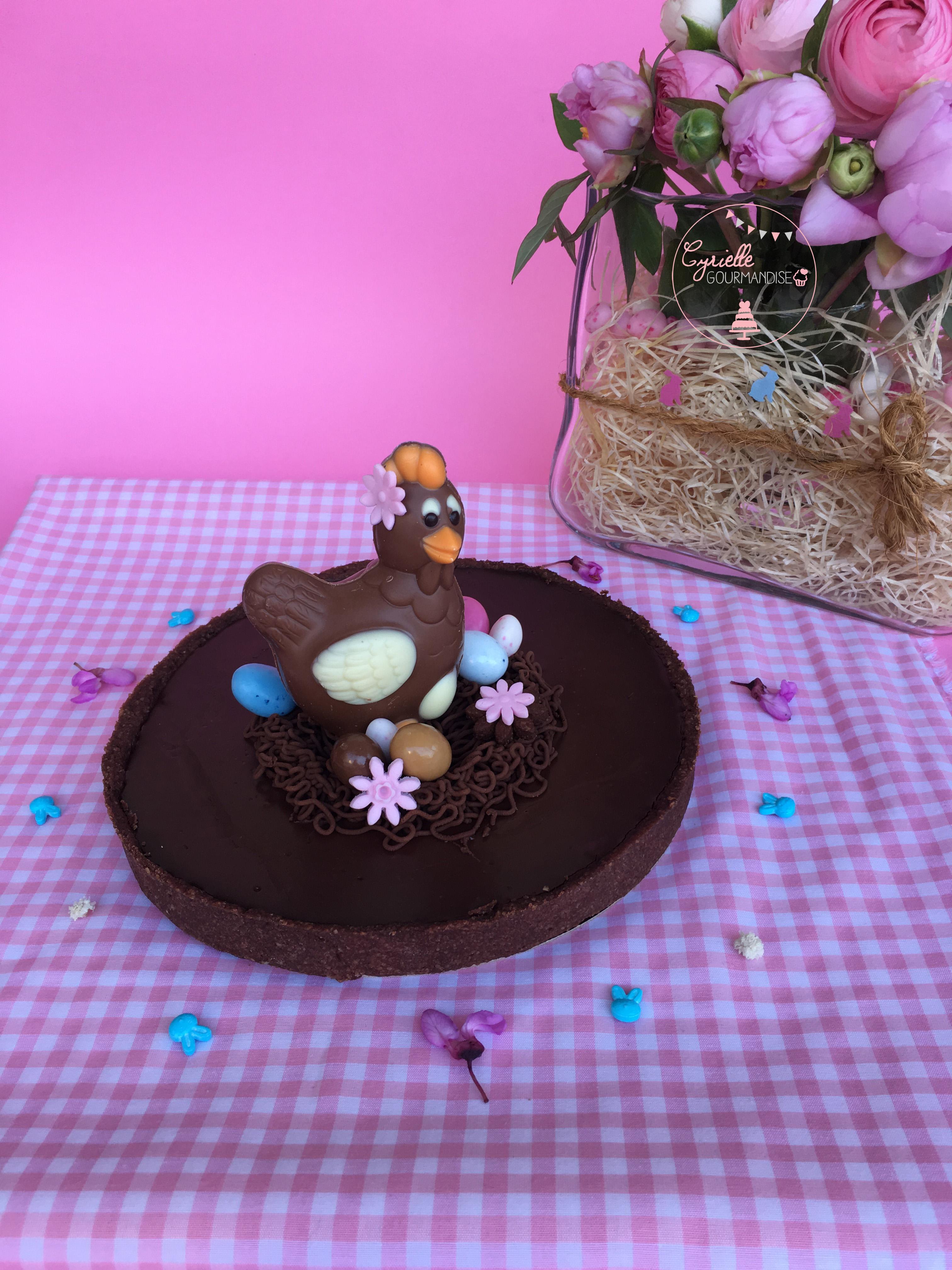 Tarte choco caramel Pâques 4