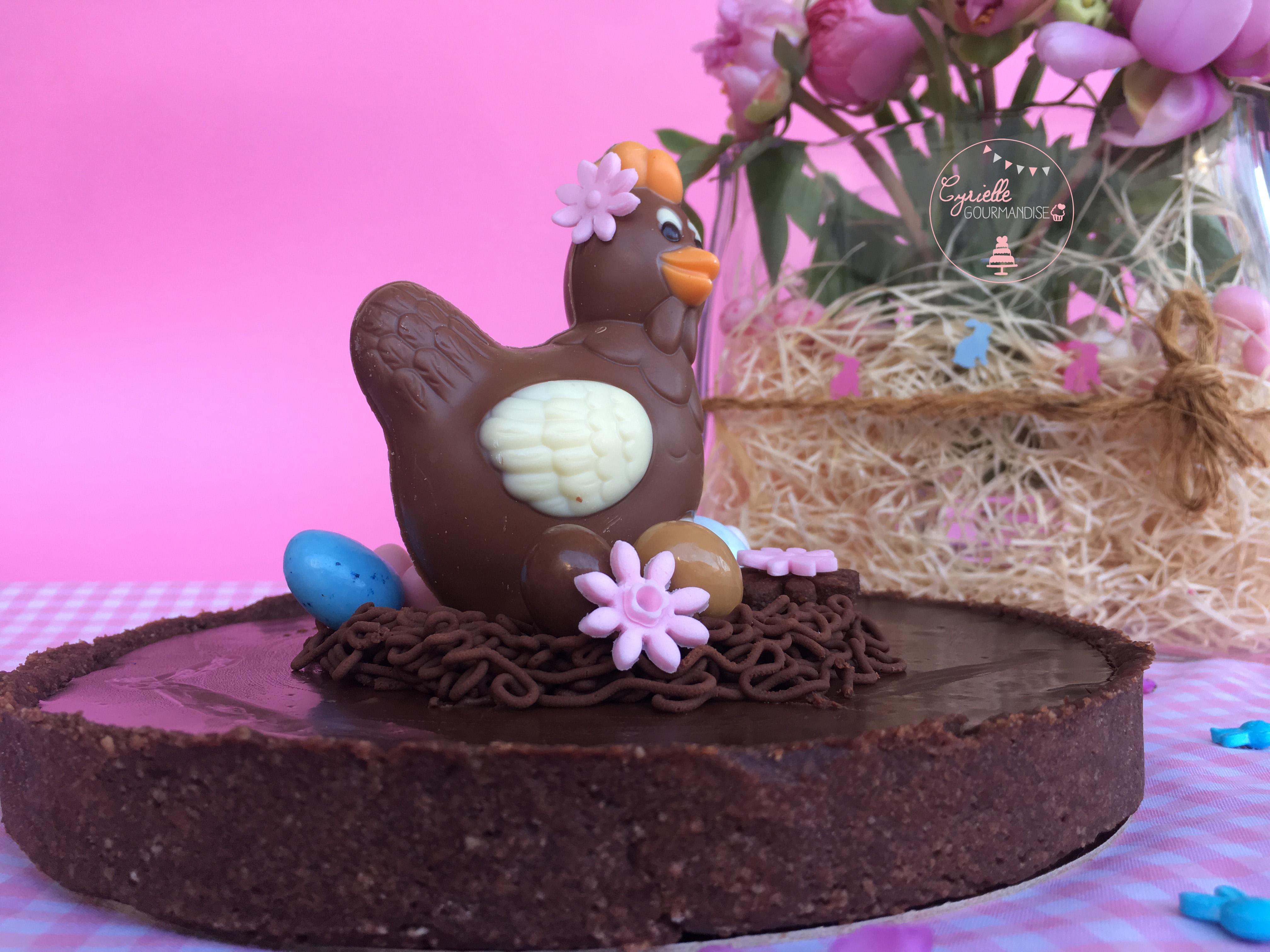 Tarte choco caramel Pâques 6