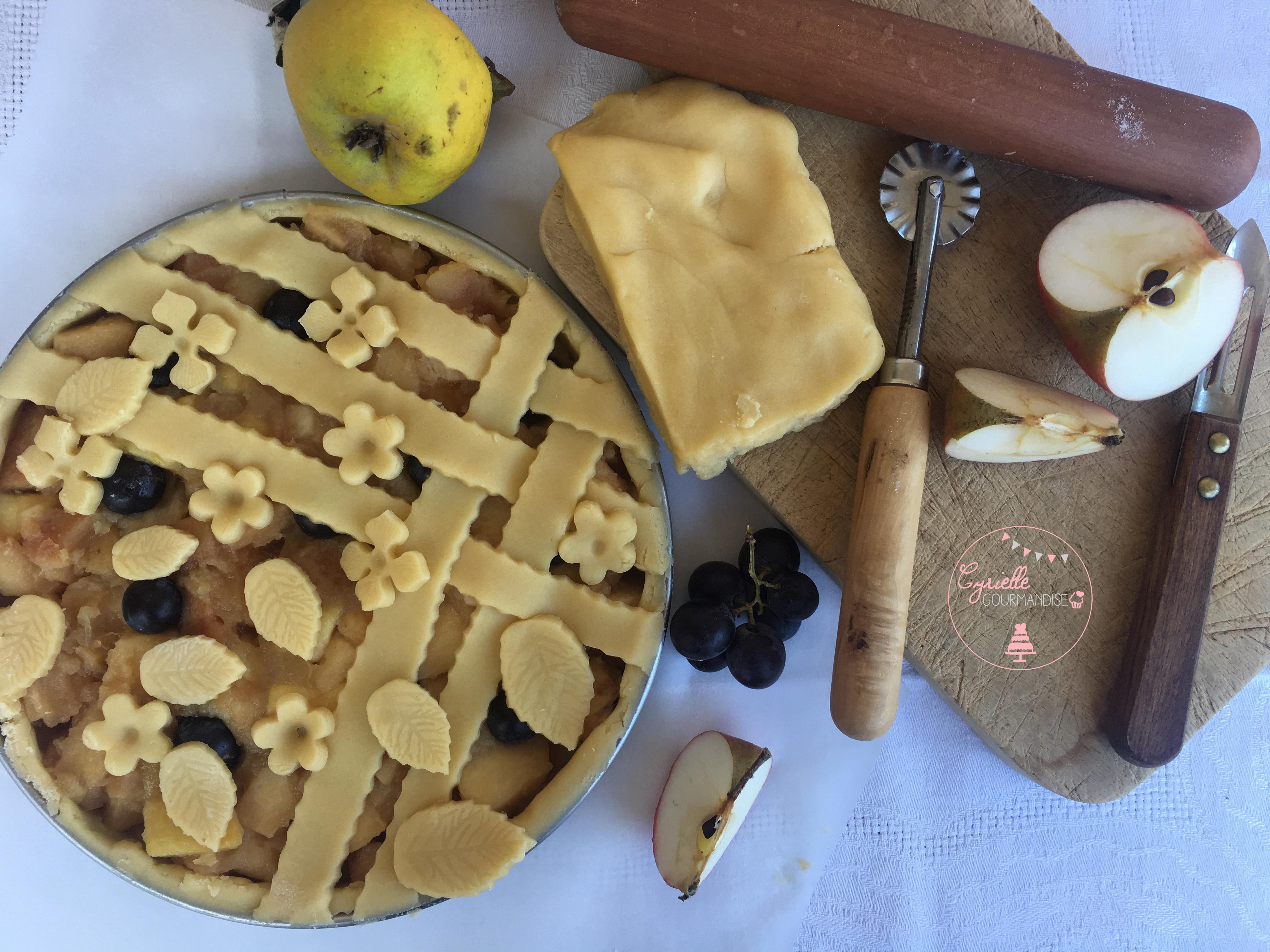 Tarte décorée Pomme-Coing